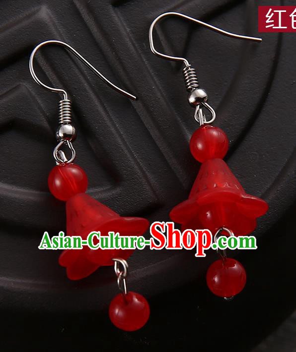 Asian Chinese Traditional Handmade Jewelry Accessories Hanfu Classical Red Earrings for Women