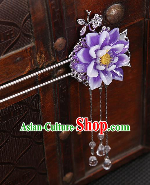 Handmade Asian Chinese Classical Hair Accessories Purple Flower Hair Clip Ancient Hanfu Hairpins for Women