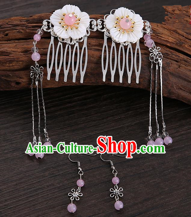 Handmade Asian Chinese Classical Hair Accessories Shell Hair Stick Hairpins and Pink Beads Earrings for Women