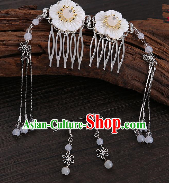 Handmade Asian Chinese Classical Hair Accessories Shell Hair Stick Hairpins and White Beads Earrings for Women
