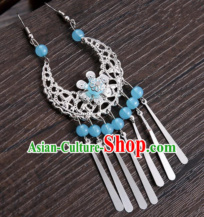 Handmade Asian Chinese Classical Hair Accessories Blue Beads Tassel Hairpins Hanfu Frontlet Eyebrows Pendant for Women