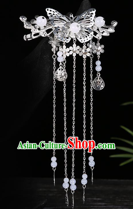 Handmade Asian Chinese Classical Hair Accessories White Beads Tassel Hairpins Hanfu Hair Stick for Women