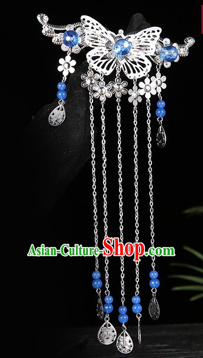 Handmade Asian Chinese Classical Hair Accessories Deep Blue Beads Tassel Hairpins Hanfu Hair Stick for Women