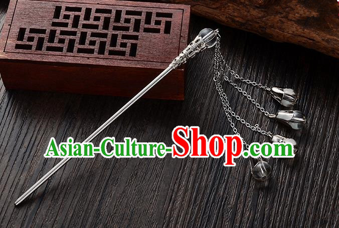 Handmade Asian Chinese Classical Hair Accessories Grey Crystal Beads Tassel Hairpins Hanfu Step Shake for Women