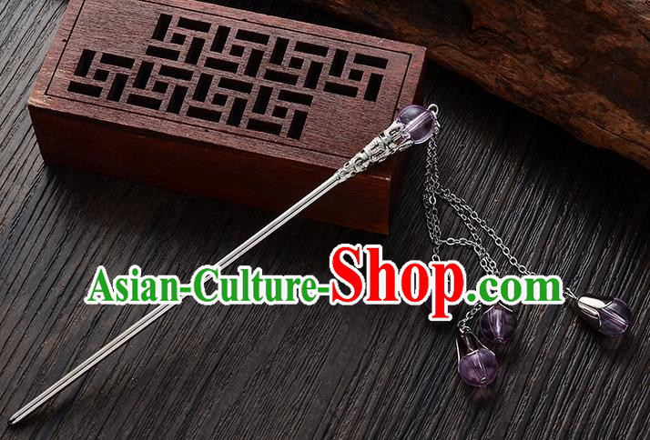 Handmade Asian Chinese Classical Hair Accessories Purple Crystal Beads Tassel Hairpins Hanfu Step Shake for Women