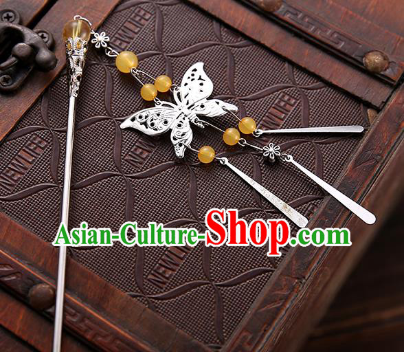Asian Chinese Handmade Classical Hair Accessories Yellow Beads Butterfly Tassel Hair Clip Hanfu Hairpins for Women