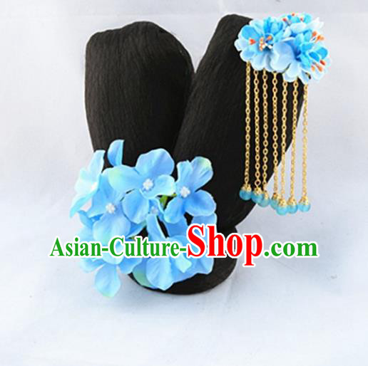 Asian Chinese Handmade Palace Lady Classical Wig and Hair Accessories Tassel Hairpins Complete Set for Women