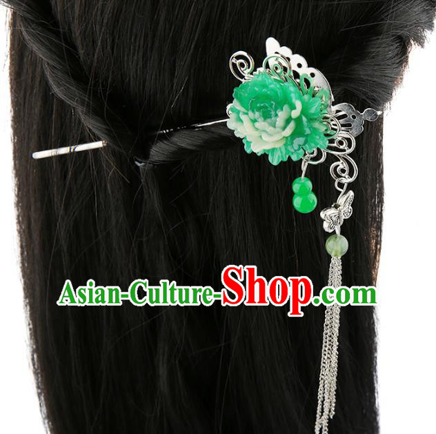 Asian Chinese Handmade Palace Lady Classical Hair Accessories Green Flower Tassel Hairpins for Women