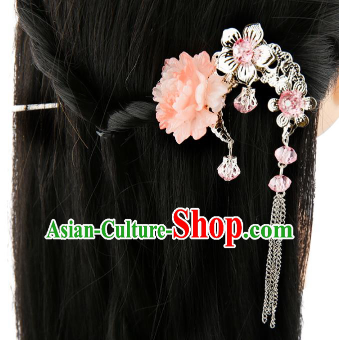Asian Chinese Handmade Palace Lady Classical Hair Accessories Pink Flower Tassel Hairpins for Women