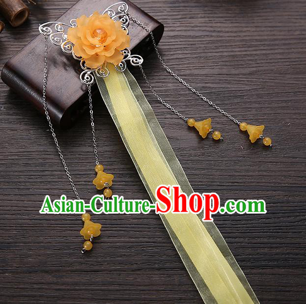 Handmade Asian Chinese Classical Hair Accessories Orange Ribbon Butterfly Hairpins Hanfu Hair Stick for Women