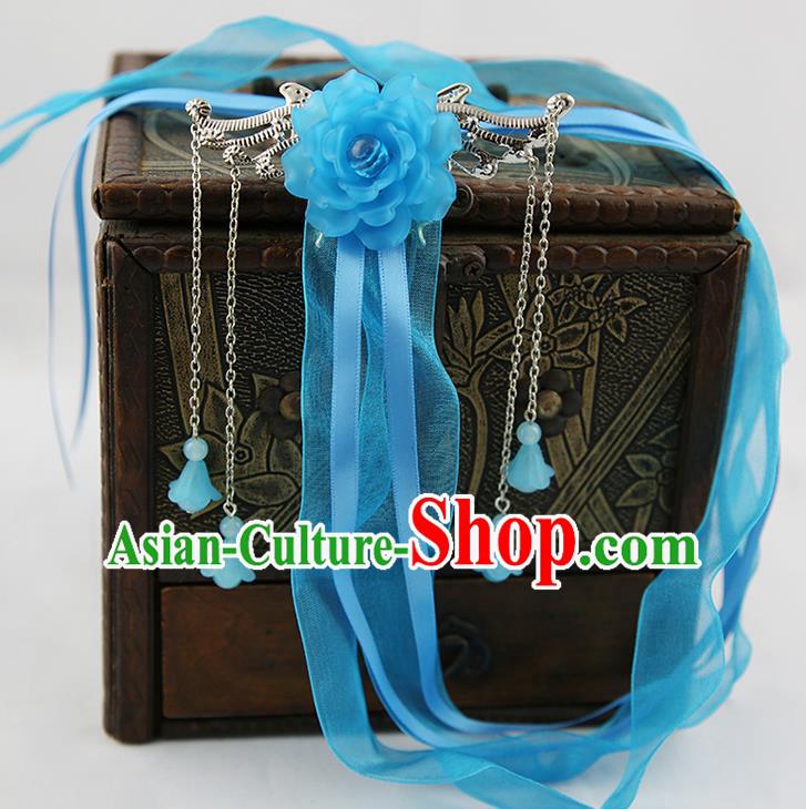 Asian Chinese Handmade Palace Lady Classical Hair Accessories Blue Silk Ribbon Hairpins Headwear for Women