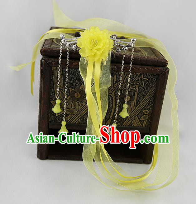 Asian Chinese Handmade Palace Lady Classical Hair Accessories Yellow Silk Ribbon Hairpins Headwear for Women