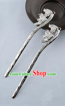 Asian Chinese Handmade Palace Lady Classical Hair Accessories Hanfu Mandarin Duck Argent Hairpins Headwear for Women
