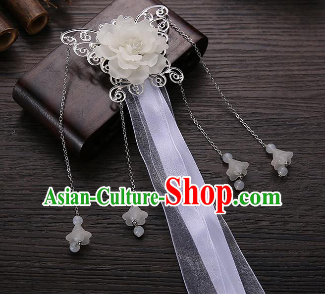 Handmade Asian Chinese Classical Hair Accessories White Ribbon Butterfly Hairpins Hanfu Hair Stick for Women