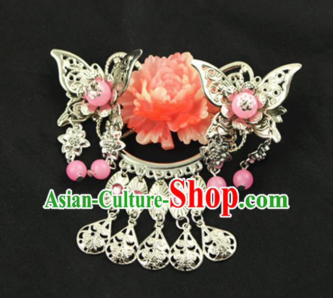 Asian Chinese Handmade Palace Lady Classical Hair Accessories Red Peony Hairpins for Women