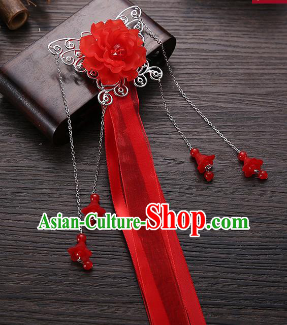Handmade Asian Chinese Classical Hair Accessories Red Ribbon Butterfly Hairpins Hanfu Hair Stick for Women