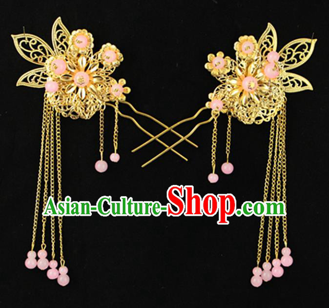 Asian Chinese Handmade Palace Lady Classical Hair Accessories Pink Beads Tassel Hairpins for Women