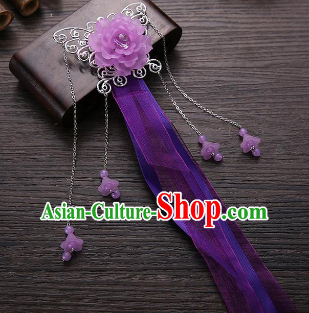 Handmade Asian Chinese Classical Hair Accessories Purple Ribbon Butterfly Hairpins Hanfu Hair Stick for Women