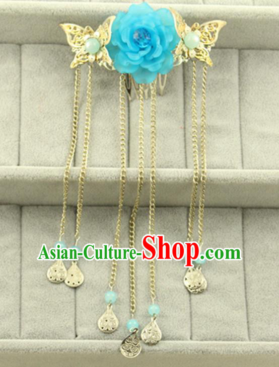 Asian Chinese Handmade Classical Hair Accessories Princess Blue Flowers Hairpins Butterfly Hair Claw for Women
