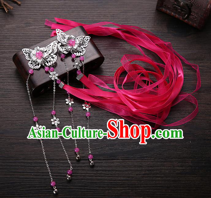 Handmade Asian Chinese Classical Hair Accessories Rosy Silk Ribbon Butterfly Hairpins Hanfu Hair Claw for Women