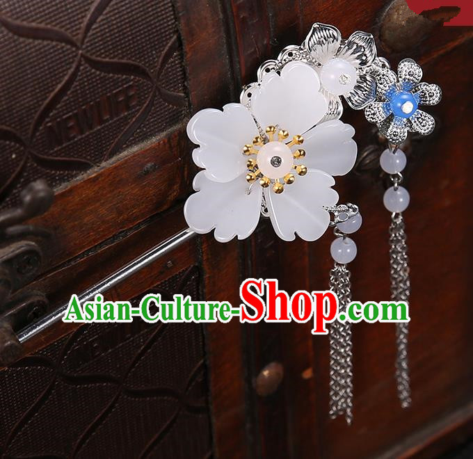 Handmade Asian Chinese Classical Hair Accessories White Flower Hairpins Hanfu Tassel Step Shake for Women