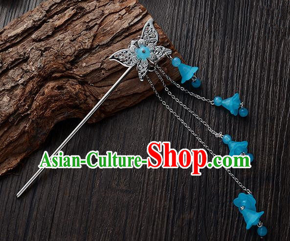Handmade Asian Chinese Classical Hair Accessories Butterfly Hairpins Hanfu Blue Tassel Step Shake for Women