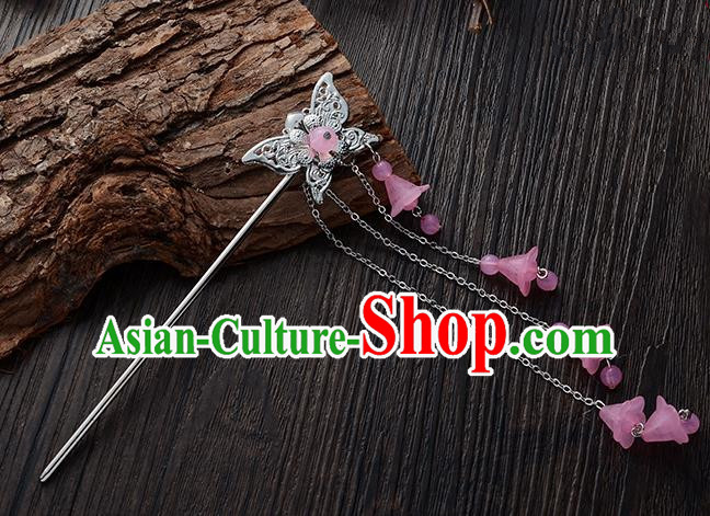 Handmade Asian Chinese Classical Hair Accessories Butterfly Hairpins Hanfu Pink Tassel Step Shake for Women