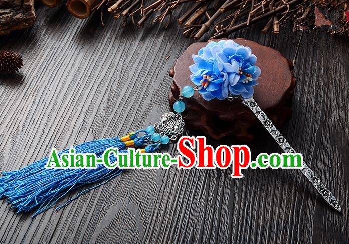 Handmade Asian Chinese Classical Hair Accessories Hairpins Hanfu Blue Flower Tassel Hair Stick for Women