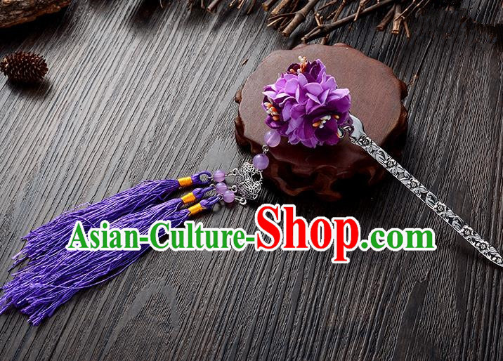 Handmade Asian Chinese Classical Hair Accessories Hairpins Hanfu Purple Flower Tassel Hair Stick for Women