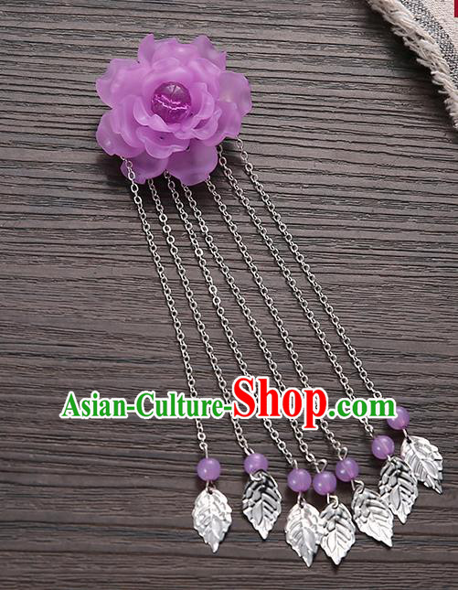 Asian Chinese Handmade Classical Hair Accessories Purple Flower Hairpins Hanfu Tassel Hair Claw for Women