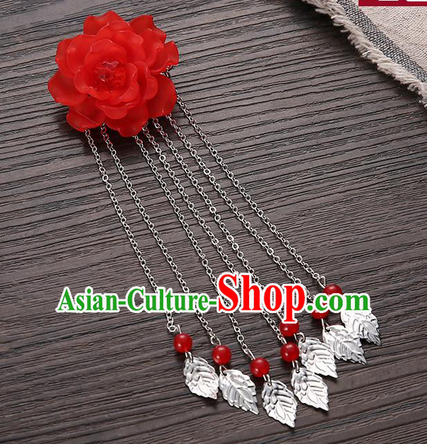 Asian Chinese Handmade Classical Hair Accessories Red Flower Hairpins Hanfu Tassel Hair Claw for Women