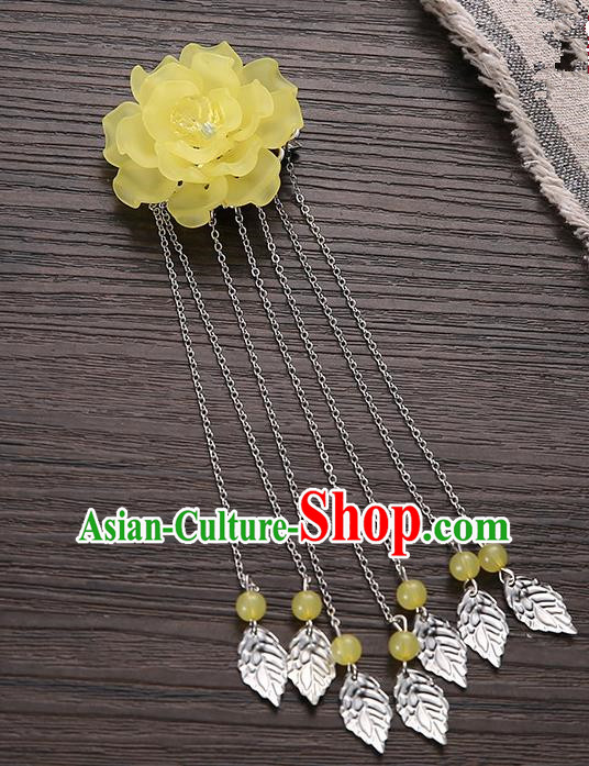 Asian Chinese Handmade Classical Hair Accessories Yellow Flower Hairpins Hanfu Tassel Hair Claw for Women