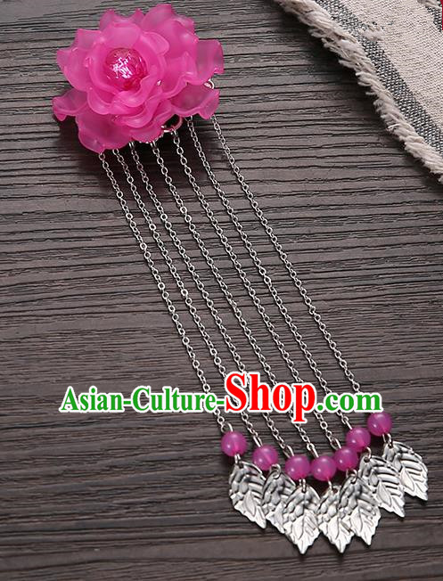 Asian Chinese Handmade Classical Hair Accessories Rosy Flower Hairpins Hanfu Tassel Hair Claw for Women