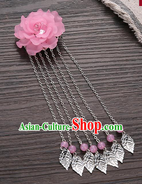 Asian Chinese Handmade Classical Hair Accessories Pink Flower Hairpins Hanfu Tassel Hair Claw for Women