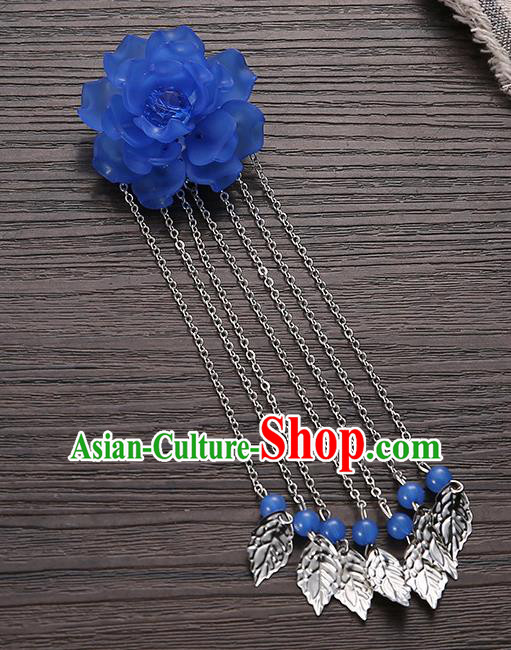 Asian Chinese Handmade Classical Hair Accessories Deep Blue Flower Hairpins Hanfu Tassel Hair Claw for Women