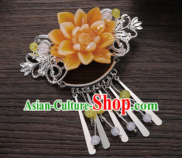 Asian Chinese Handmade Classical Hair Accessories Yellow Flower Tassel Hair Comb Hairpins for Women