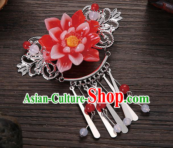 Asian Chinese Handmade Classical Hair Accessories Red Flower Tassel Hair Comb Hairpins for Women