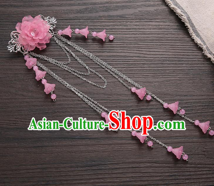 Asian Chinese Handmade Classical Hair Accessories Pink Long Tassel Hair Claw Hanfu Hairpins for Women