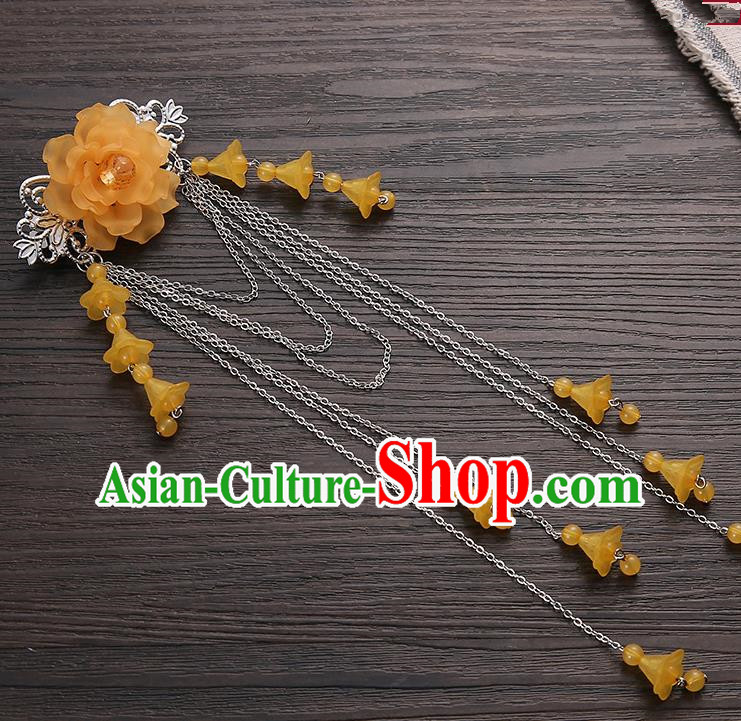Asian Chinese Handmade Classical Hair Accessories Orange Long Tassel Hair Claw Hanfu Hairpins for Women