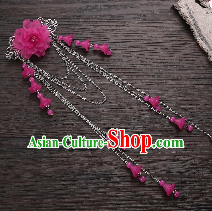 Asian Chinese Handmade Classical Hair Accessories Rosy Long Tassel Hair Claw Hanfu Hairpins for Women