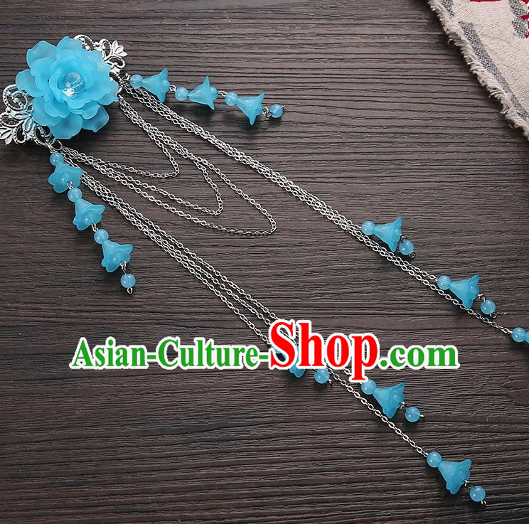 Asian Chinese Handmade Classical Hair Accessories Blue Long Tassel Hair Claw Hanfu Hairpins for Women
