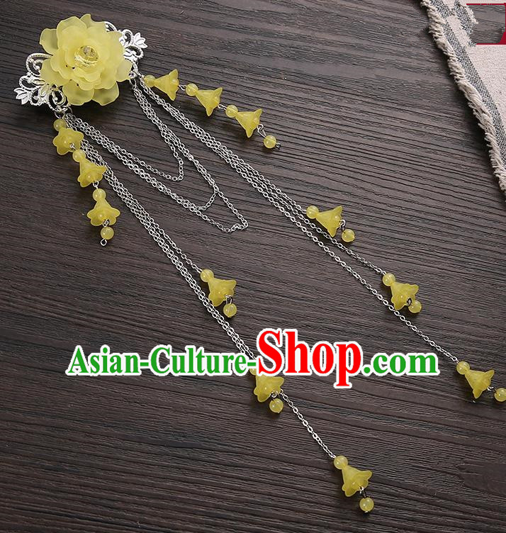 Asian Chinese Handmade Classical Hair Accessories Yellow Long Tassel Hair Claw Hanfu Hairpins for Women