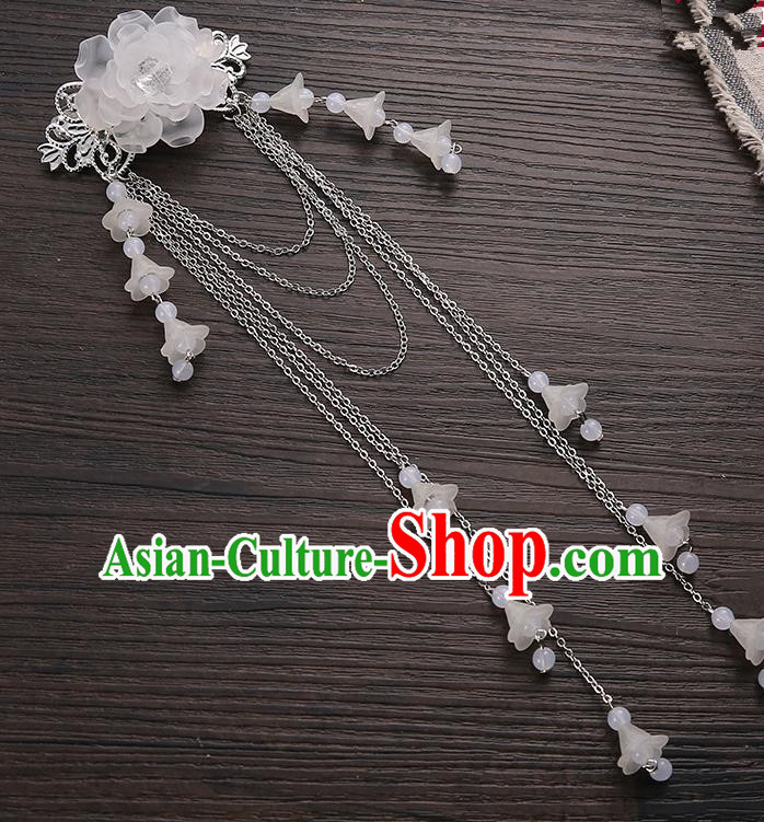 Asian Chinese Handmade Classical Hair Accessories White Long Tassel Hair Claw Hanfu Hairpins for Women