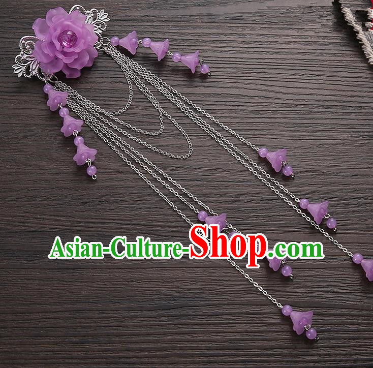 Asian Chinese Handmade Classical Hair Accessories Purple Long Tassel Hair Claw Hanfu Hairpins for Women