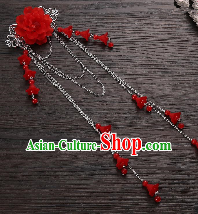 Asian Chinese Handmade Classical Hair Accessories Red Long Tassel Hair Claw Hanfu Hairpins for Women