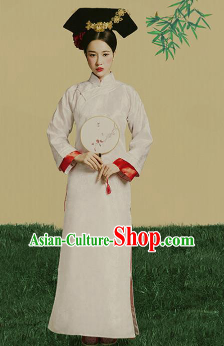 Traditional Chinese Qing Dynasty Palace Lady Costume, China Ancient Manchu Princess Clothing and Headpiece Complete Set