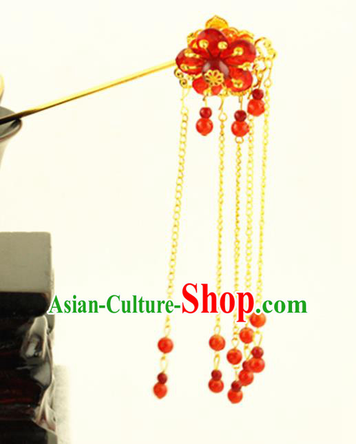 Asian Chinese Handmade Classical Hair Accessories Princess Hairpins Red Beads Tassel Step Shake for Women