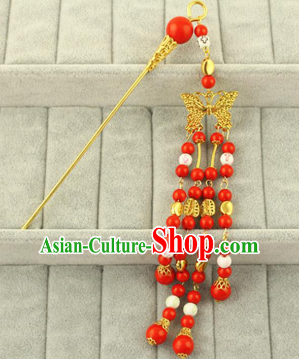 Asian Chinese Handmade Classical Hair Accessories Bride Red Step Shake Hanfu Hairpins for Women