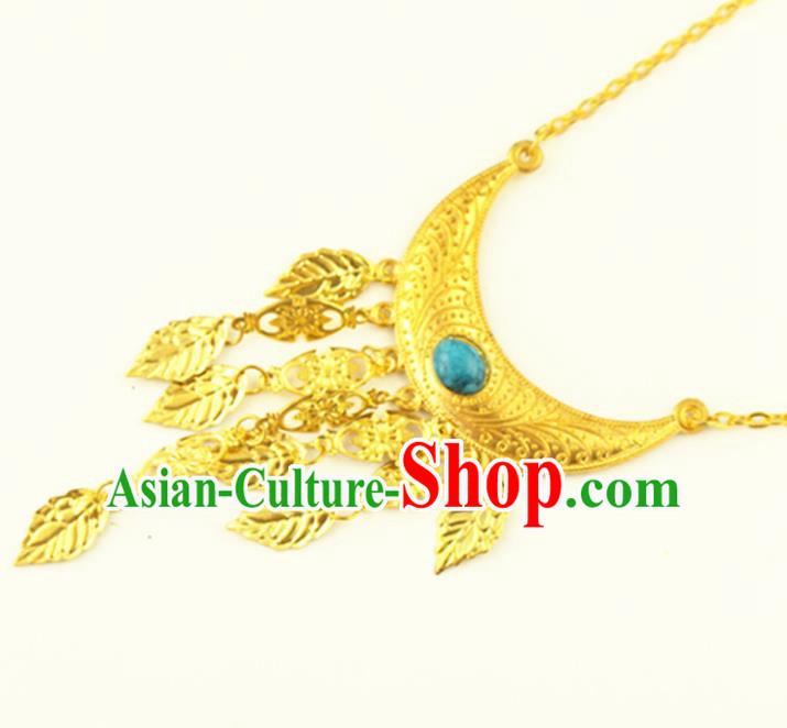 Asian Chinese Handmade Classical Hair Accessories Bride Golden Frontlet Headband Hanfu Hairpins for Women
