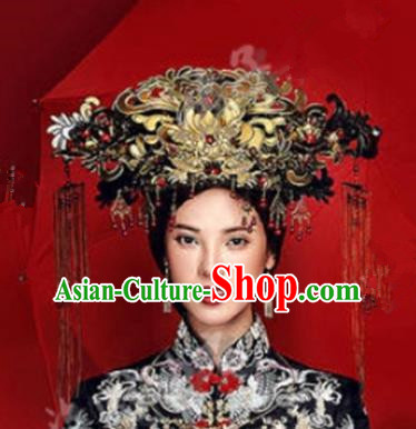 Asian Chinese Ancient Handmade Classical Hair Accessories Palace Lady Luxurious Phoenix Coronet Hairpins Complete Set for Women